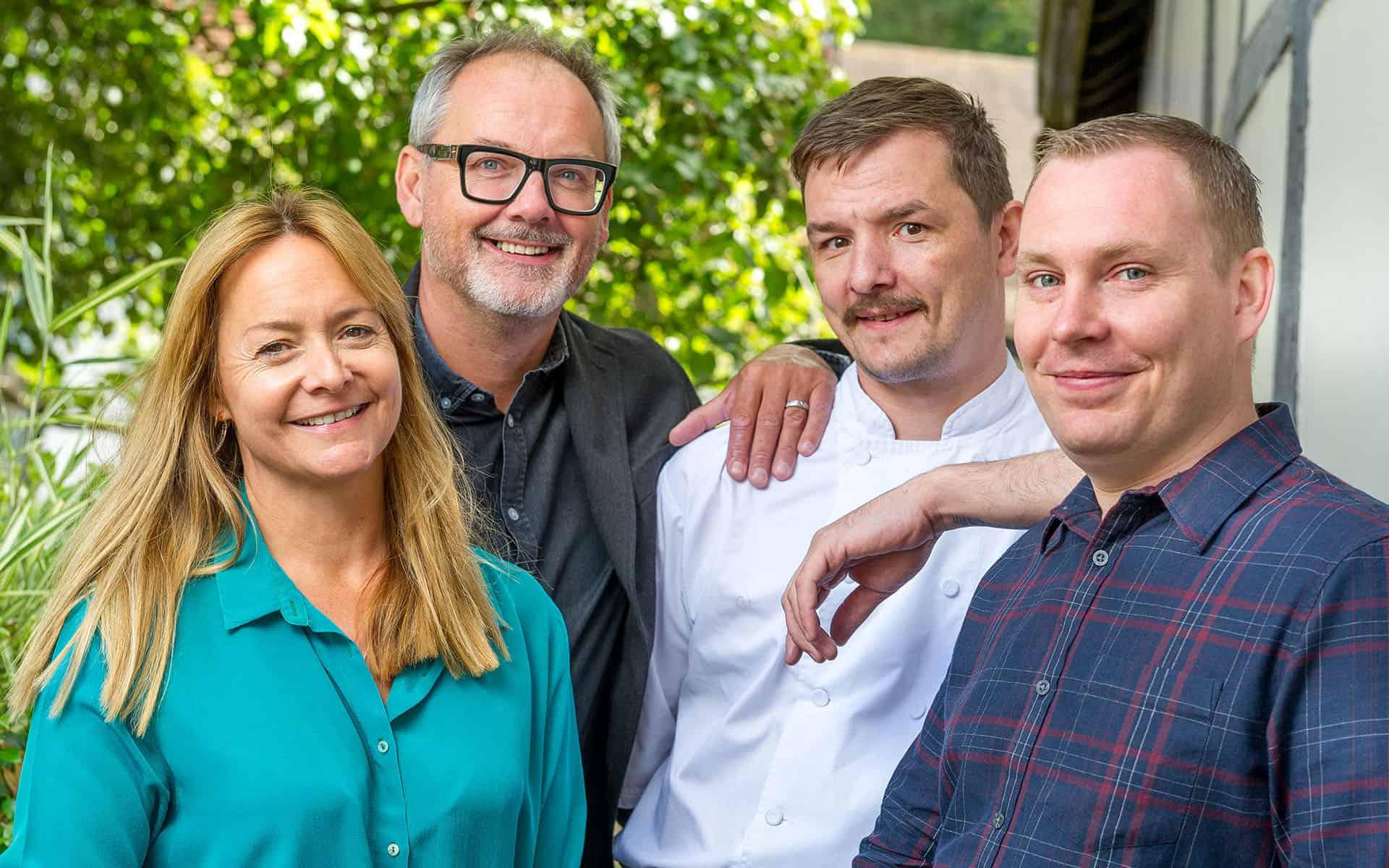 Eleanor, Mark, Head Chef Damian & James